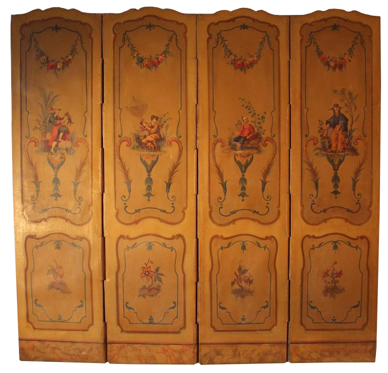 Wonderful Early C20th Louis XV Painted French Folding Screen
