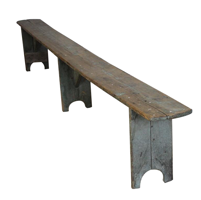 Wonderful Pair of Large 19th cent Painted Benches in original Paint