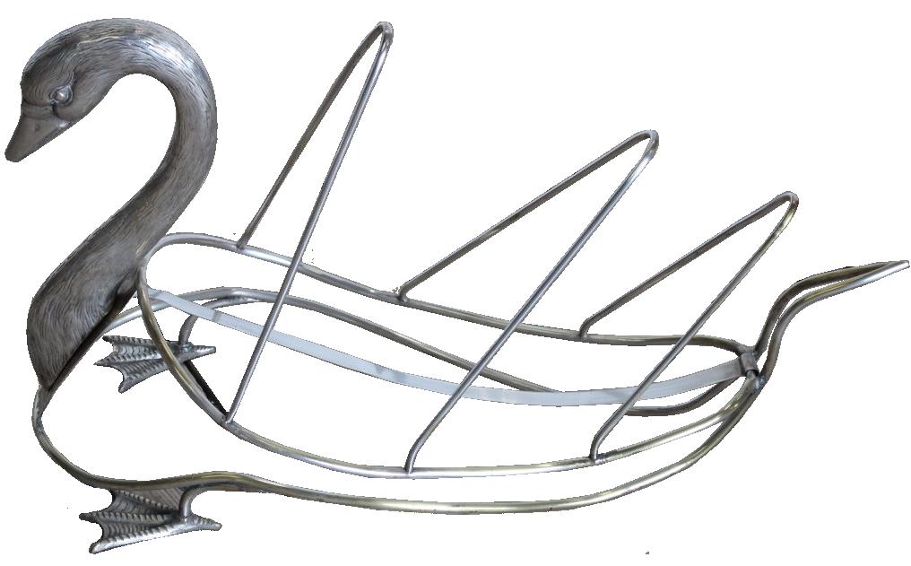 1970s Spanish Silver-plated Swan Magazine Rack