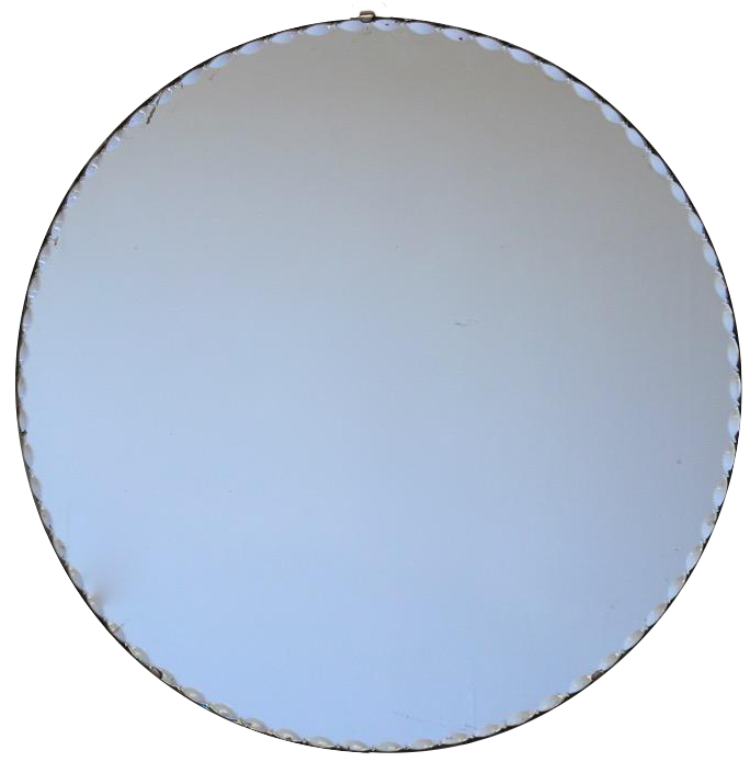 Mid 20th Century French Round Mirror with Scalloped Edge