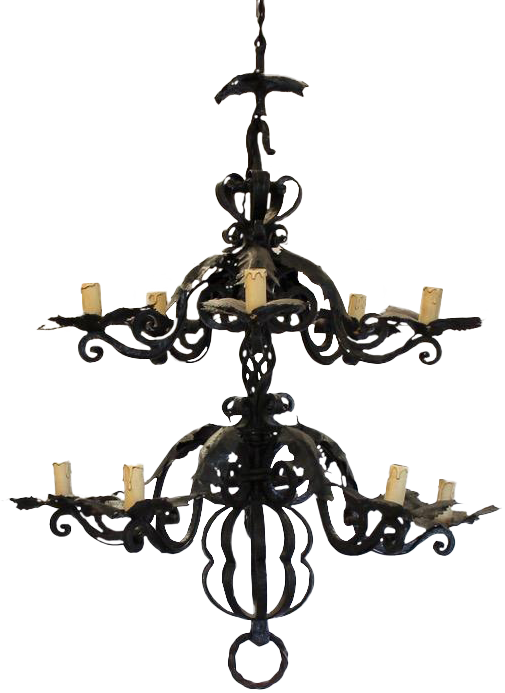 Large Late 19th century Spanish Wrought Iron Chandelier