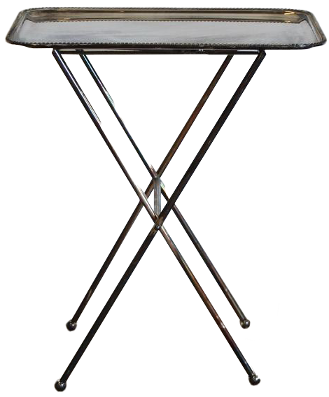 Mid 20th Century French Silver Plated Folding Side Table