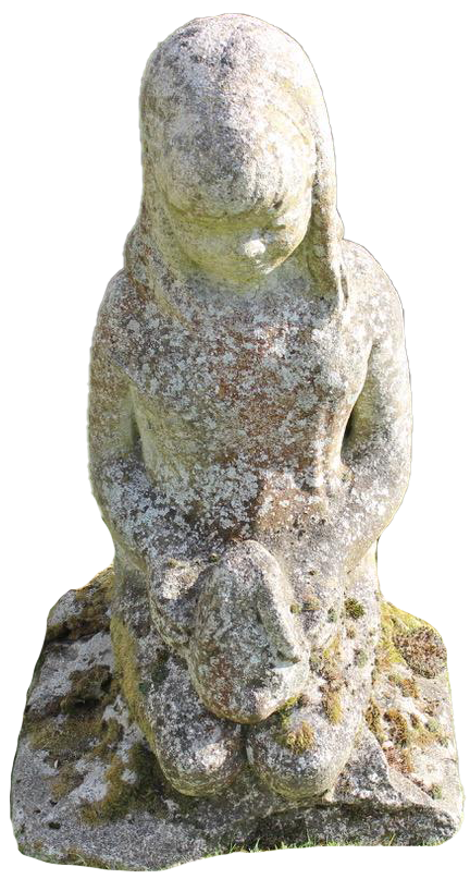 1920s English Composite Stone Statue of a Young Girl with a Rabbit