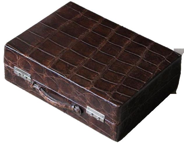 1940s Brown Crocodile Toiletry Bag