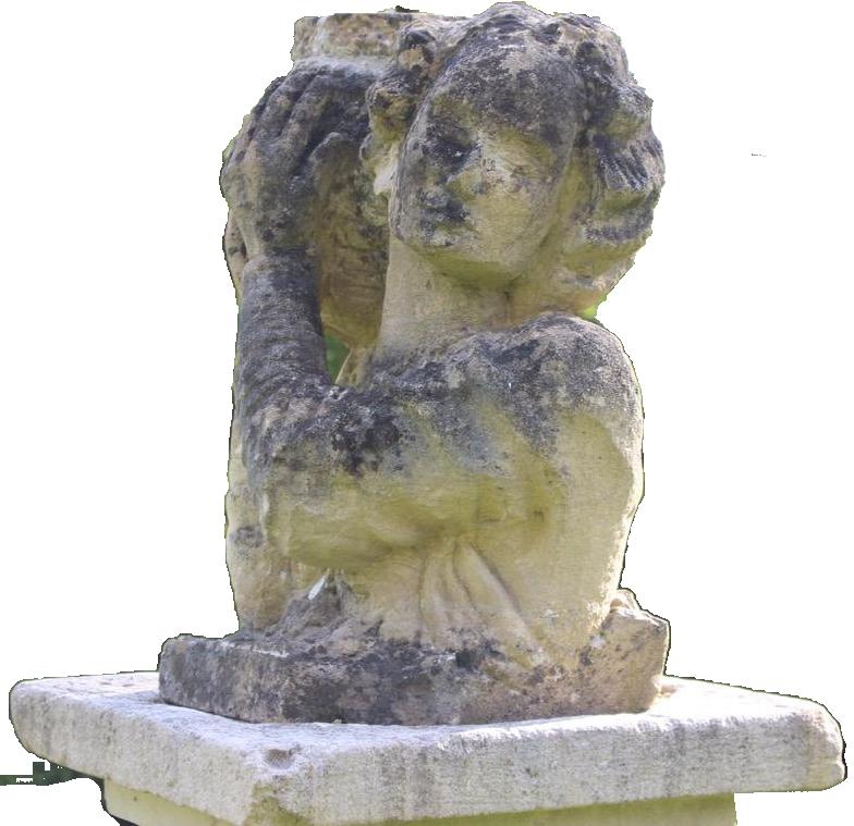 1940s Carved Stone Garden Sculpture