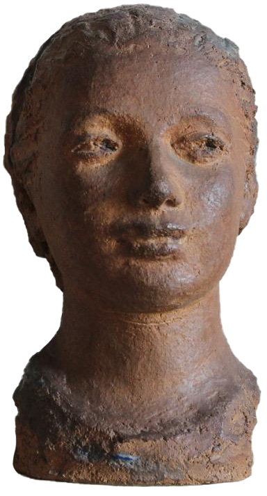 1940s French Terracotta Bust  by DEM