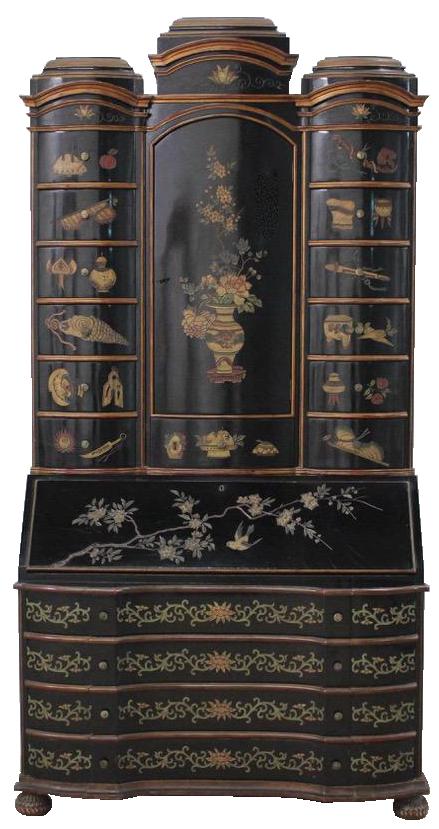 1960s/70s Chinoiserie Lacquer Bureau Bookcase