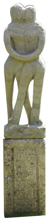 1960s Composite Stone Sculpture of a Couple