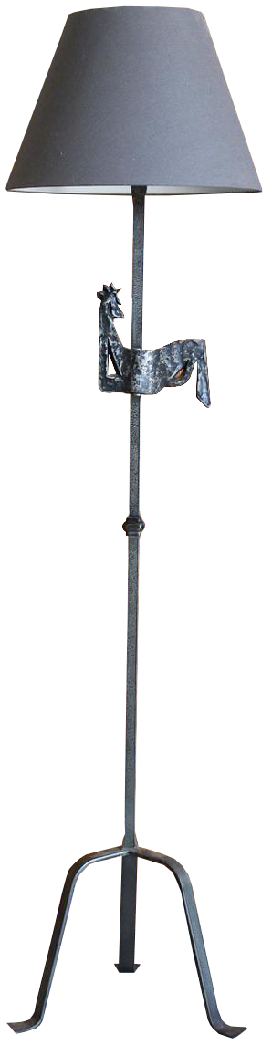 1960s French Forged Iron Standing Light of a Cockerel