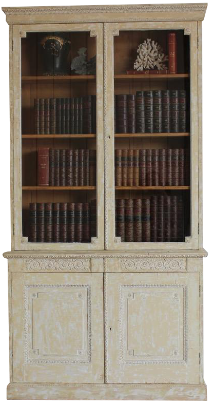 19th Cent and Later English Painted Bookcase / Display Cabinet