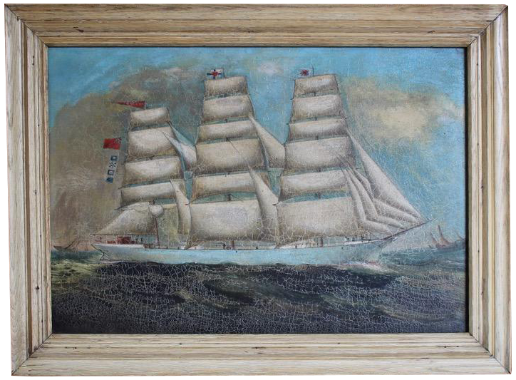 19th Century English Oil on Canvas painting of a Ship