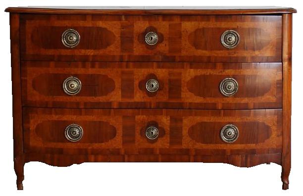 Early 19th Century Walnut & Burr Maple Serpentine Commode