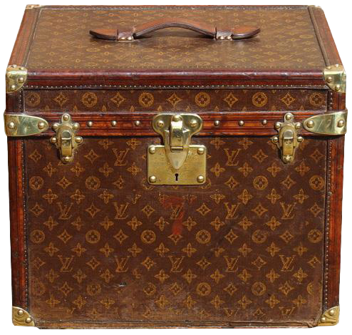 Early Woven Fabric Leather & Brass Trimmed Louis Vuitton Hatbox