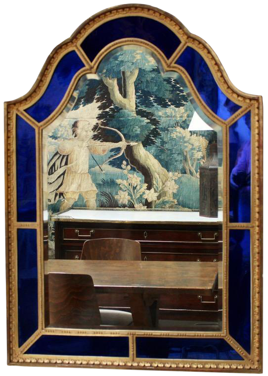 Fine 1920s English Mirror with Blue Glass