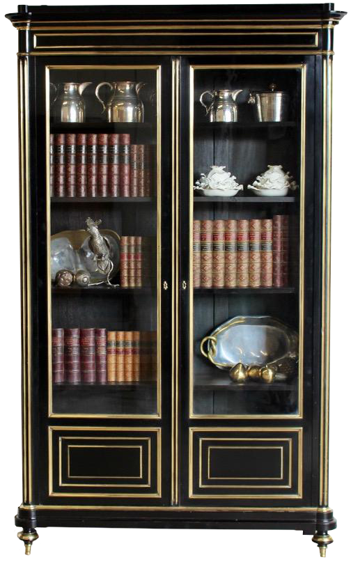 Fine Early 20th Cent Brass Mounted Ebonised Bookcase