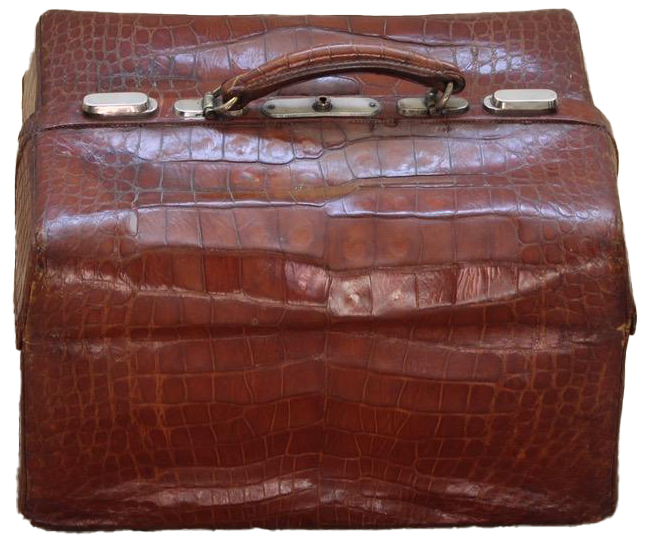Fine Quality 1930s/40s Brown Crocodile Toiletry Bag