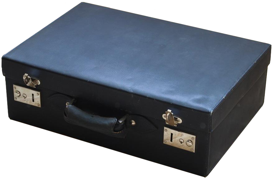 Fine Quality Mid 20th Cent French Suitcase in Marine Blue Coated Canvas
