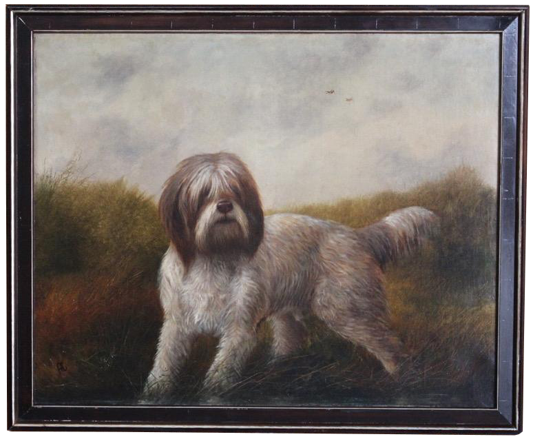 Large 19th century Italian Oil on Canvas Painting of a Spinone