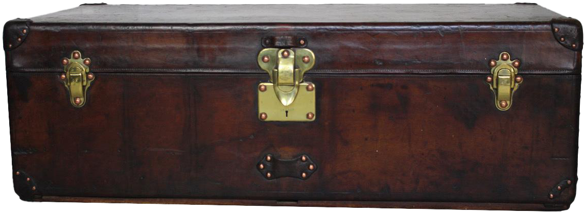 Large Antique Louis Vuitton Steamer Trunk in Full Leather