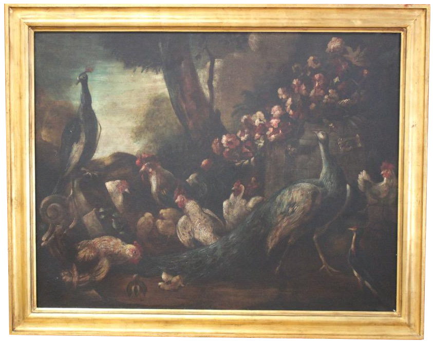 Large Early 20th century Spanish Oil on Canvas of Peacocks and Chickens