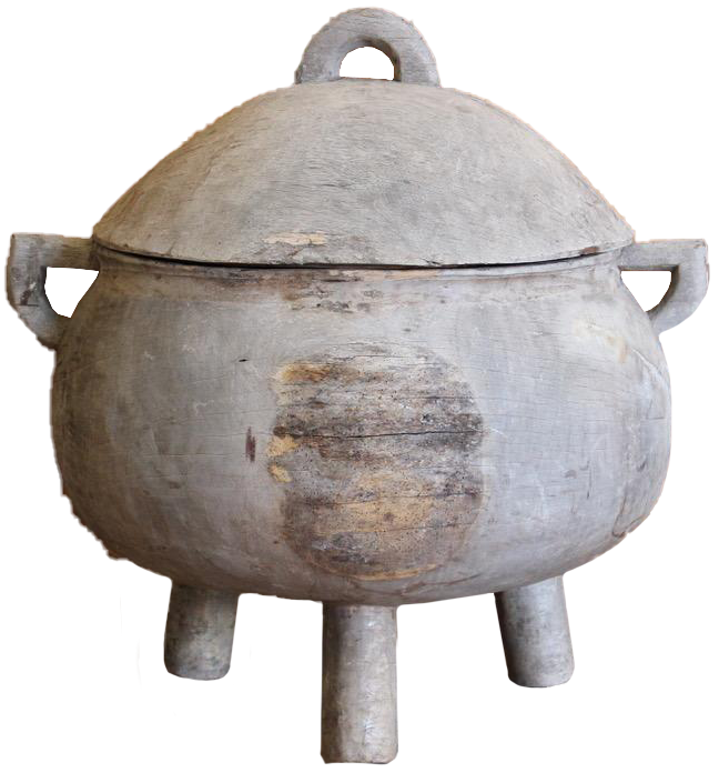 Large Scale Colonial Bleached Wood Cauldron