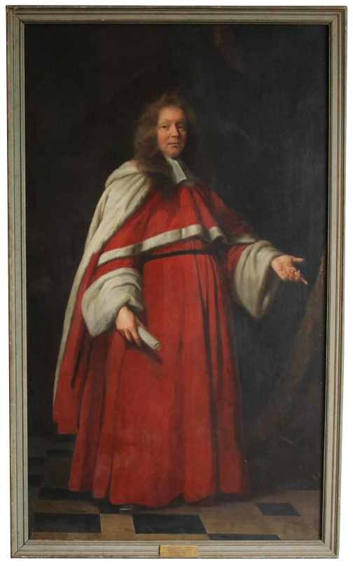 Large Scale Late 17th Cent Oil on Canvas Portrait by John Riley