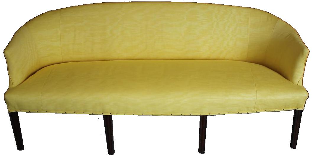 Late 18th Cent English George III Eight Legged Sofa in Silk