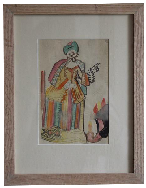 Original 1940s French Watercolour by DEM
