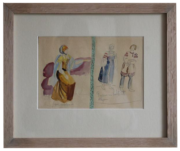 Original 1940s French Watercolours by DEM