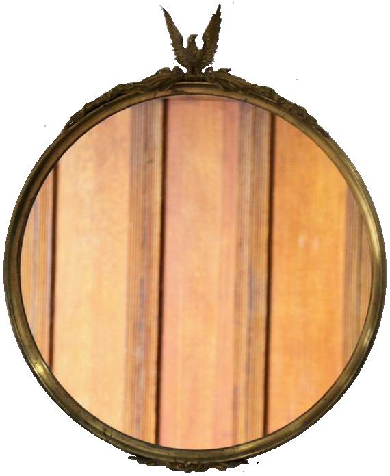 Pair of 1930s Gilt Bronze Circular Mirrors