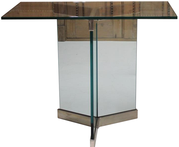 Pair of 1960s Chrome and Glass Console Tables