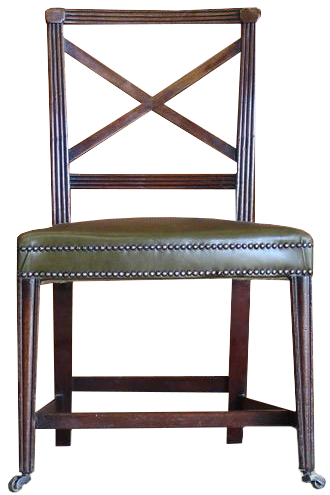 Pair of Early 19th century English X Frame Mahogany Side Chairs