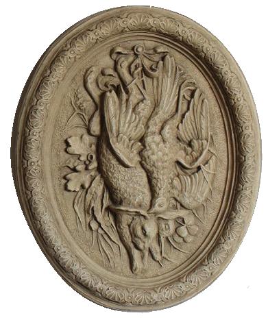 Pair of French Napoleon III Faux Plaster Papier-mâché Game Reliefs