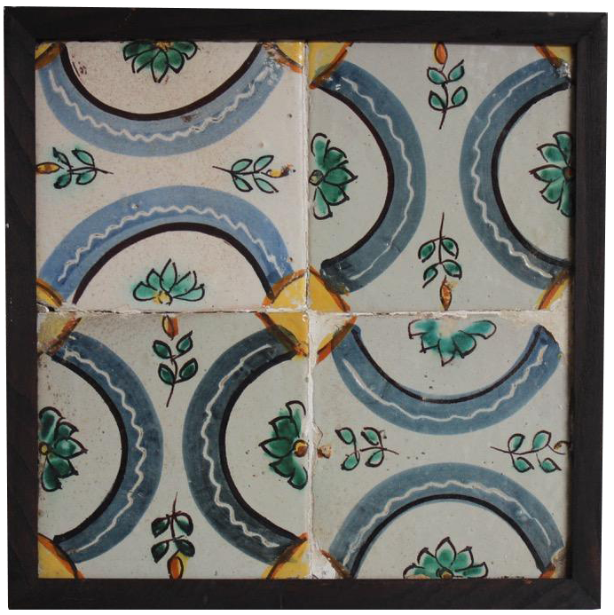 Set of Four Late 19th/ Early 20th Cent Framed Spanish Tile Samples.