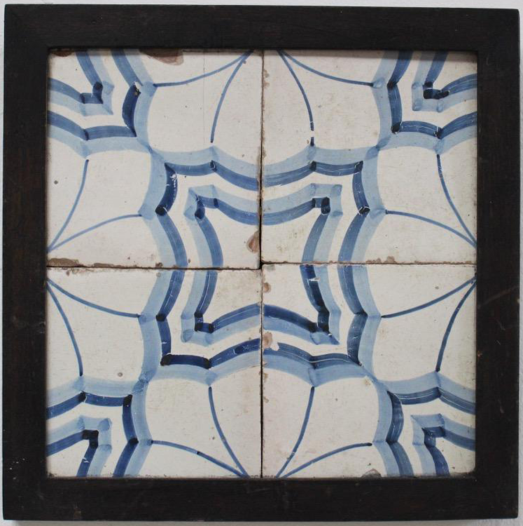Set of Four Late 19th/ Early 20th Cent Framed Spanish Tile Samples