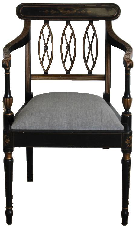 Set of Six 1960s/70s Spanish Painted Armchairs in the Regency Taste