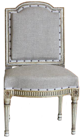 Set of Six 19th Cent French Painted Chairs  Newly Upholstered