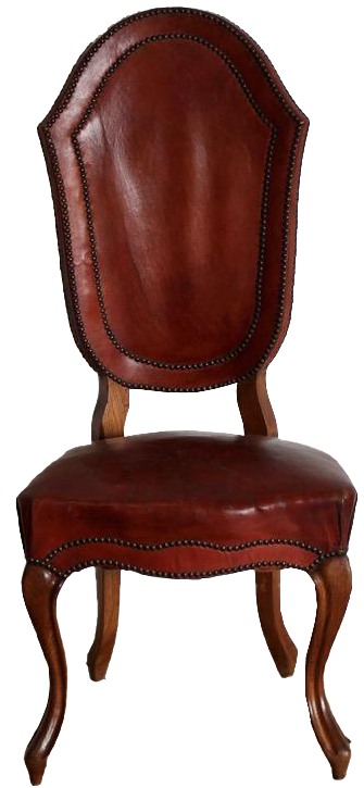 Set of Six 19th Cent Italian Oak Chairs in Leather