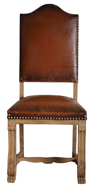 Set of Six Early 20th Cent French High Back Dining Chairs in Leather