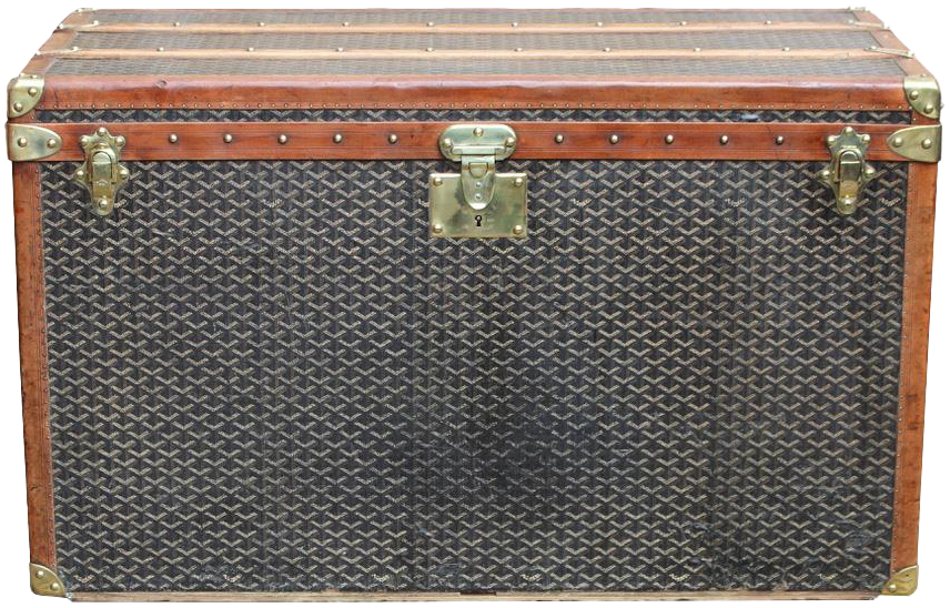 Superb 1920s Tall Goyard Travel Trunk with Liner and Tray