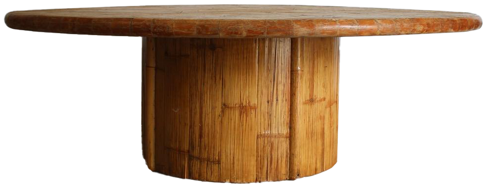 Superb 1970s Large Round Bamboo Dining Table