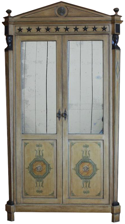 Very Useful Late 19th / Early 20th Cent  French Painted Cupboard in the Empire Taste