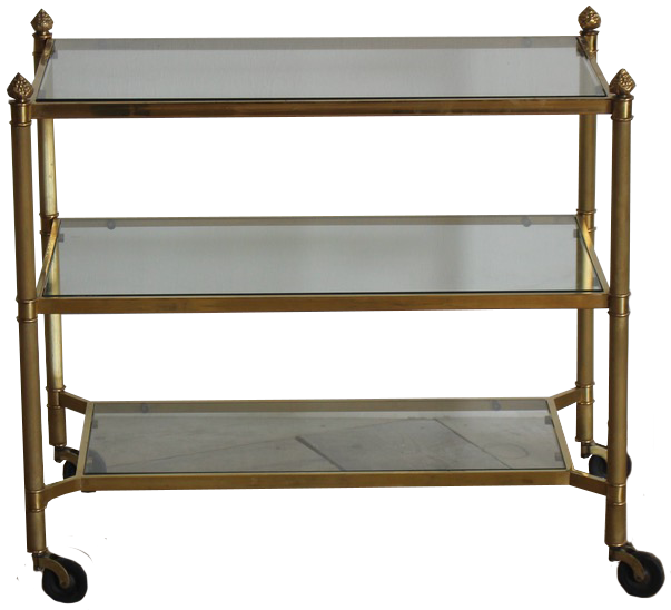 1970s Three Tier French Brass Table / Trolley