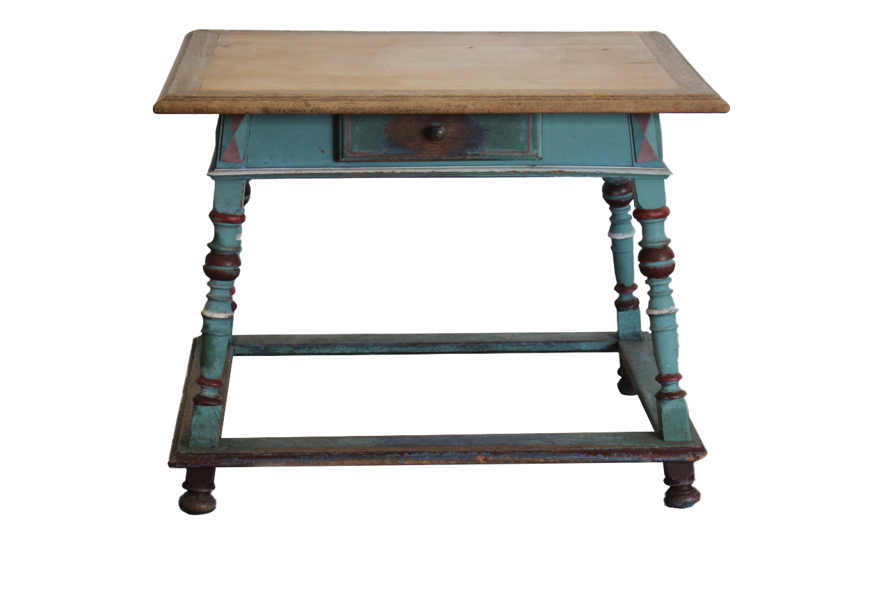 19th Century Continental Oak & Pine Painted Table