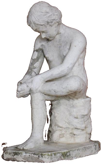 Charming Mid C20th Italian Garden Statue of the Spinario in Composite Stone