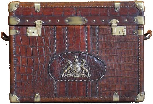 Fine Bespoke Antique Crocodile & Leather Trunk / Sofa Table