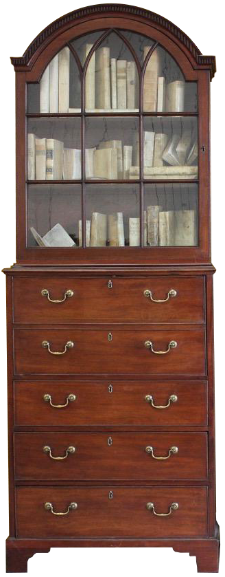 Fine Pair of 18th Cent English George III Secretaire Bookcases