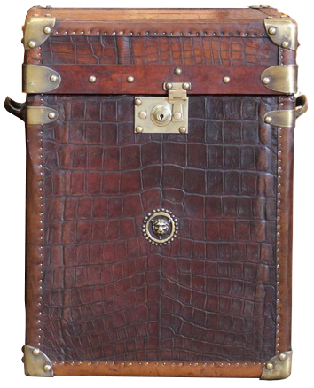 Fine Pair of Bespoke Antique Crocodile & Leather Trunks / Sofa Tables