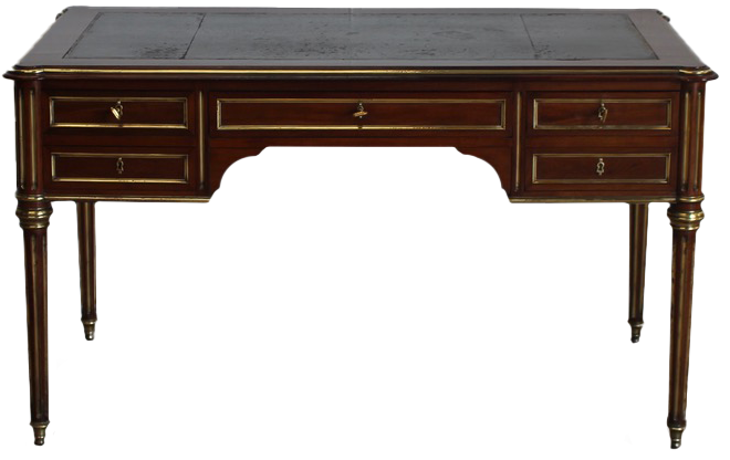Fine Quality Louis XVI Revival Brass Mounted Desk