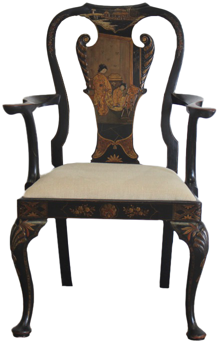 George II Revival  1930s Chinoiserie Lacquered Armchair